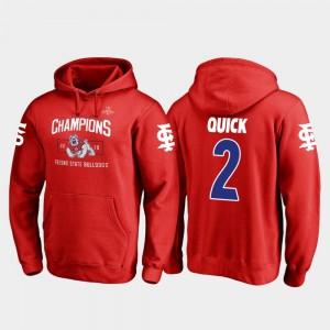 #2 2018 Las Vegas Bowl Champions Red Michiah Quick College Hoodie Mens Fresno State Bulldogs Blitz