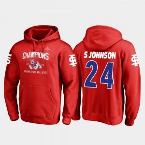Saevion Johnson College Hoodie Blitz Fresno State Red 2018 Las Vegas Bowl Champions #24 For Men's