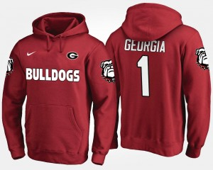 College Hoodie Red #1 UGA Bulldogs No.1 For Men's