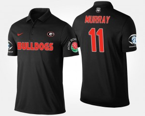 #11 Bowl Game Aaron Murray College Polo Southeastern Conference Rose Bowl For Men Black UGA