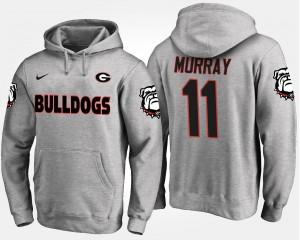 Georgia Bulldogs For Men #11 Aaron Murray College Hoodie Gray
