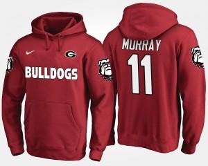 Men's Aaron Murray College Hoodie #11 Georgia Red
