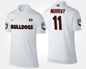 White For Men #11 Aaron Murray College Polo Georgia Bulldogs