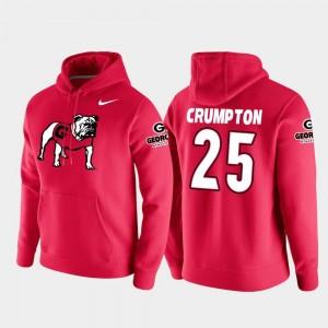 #25 Football Pullover Ahkil Crumpton College Hoodie Red Vault Logo Club For Men's University of Georgia