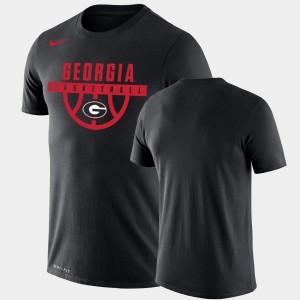 Men's Black UGA Bulldogs College T-Shirt Performance Basketball Drop Legend