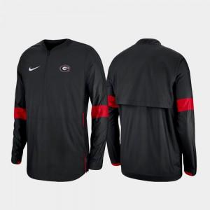 Black For Men's Quarter-Zip College Jacket Georgia 2019 Coaches Sideline