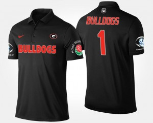 Georgia College Polo No.1 Southeastern Conference Rose Bowl For Men's #1 Bowl Game Black
