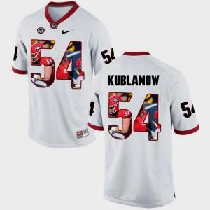 White #54 Georgia Bulldogs For Men Pictorial Fashion Brandon Kublanow College Jersey