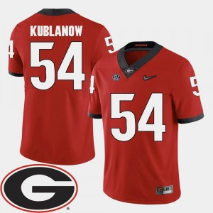 2018 SEC Patch Men's Football Brandon Kublanow College Jersey #54 Red Georgia