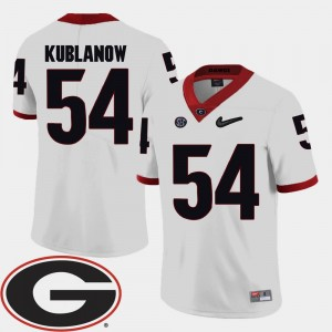 2018 SEC Patch Brandon Kublanow College Jersey UGA Bulldogs Football #54 For Men White
