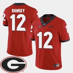 #12 Football Georgia Men's Brice Ramsey College Jersey Red 2018 SEC Patch