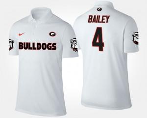 Mens #4 Champ Bailey College Polo White Georgia Bulldogs