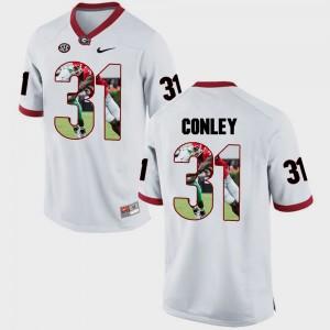 Pictorial Fashion #31 Chris Conley College Jersey GA Bulldogs For Men White