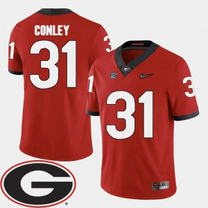 Red 2018 SEC Patch Football UGA Bulldogs Chris Conley College Jersey For Men's #31