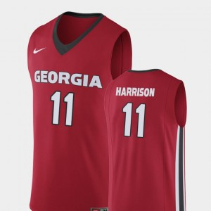Replica For Men Christian Harrison College Jersey #11 Red Georgia Bulldogs Basketball