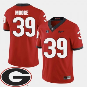 Red Corey Moore College Jersey Football #39 Georgia Bulldogs 2018 SEC Patch For Men