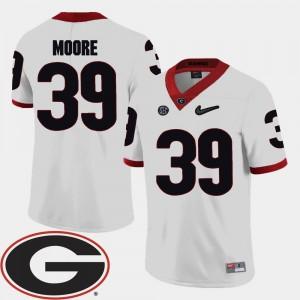 Georgia Men #39 Corey Moore College Jersey 2018 SEC Patch Football White