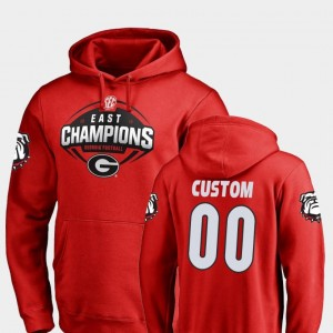 #00 2018 SEC East Division Champions College Customized Hoodie Georgia For Men's Football Red