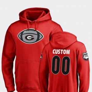 University of Georgia Men's Game Ball Football #00 College Customized Hoodie Red