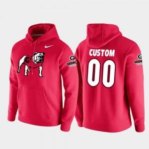 Georgia Bulldogs #00 College Custom Hoodies Mens Red Football Pullover Vault Logo Club