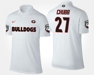 White For Men #27 Nick Chubb College Polo UGA