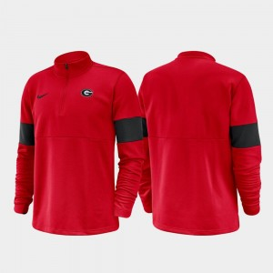 Red College Jacket For Men's Georgia Bulldogs 2019 Coaches Sideline Half-Zip Performance