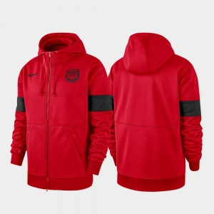 2019 Sideline Therma-FIT For Men Performance Full-Zip Red Georgia Bulldogs College Hoodie