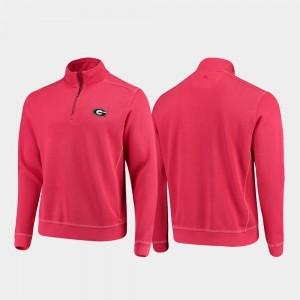 Half-Zip Pullover Tommy Bahama Red For Men's College Jacket GA Bulldogs Sport Nassau