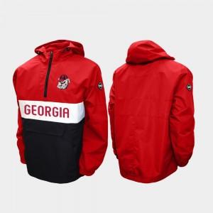 For Men's College Jacket Red Half-Zip UGA Bulldogs Alpha Anorak Pullover