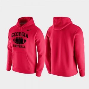 College Hoodie Club Fleece Retro Football For Men University of Georgia Red