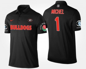 For Men #1 Bowl Game Southeastern Conference Rose Bowl Black Sony Michel College Polo UGA Bulldogs
