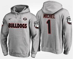 Mens GA Bulldogs Sony Michel College Hoodie Gray #1