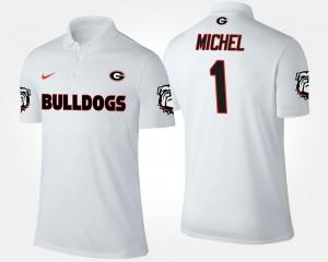 Mens White UGA Bulldogs #1 Sony Michel College Polo
