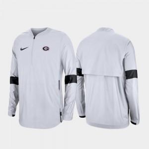 Quarter-Zip For Men White 2019 Coaches Sideline UGA College Jacket