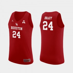 Red Replica Breaon Brady College Jersey Mens Houston Cougars #24 Basketball