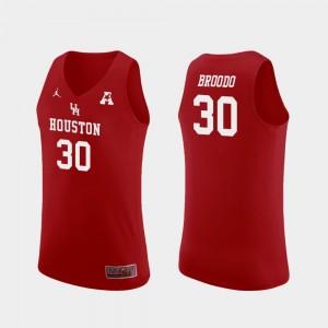 Red Caleb Broodo College Jersey For Men's Replica #30 Houston Basketball
