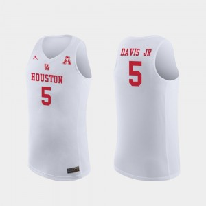 Mens White #5 Basketball Replica Cougars Corey Davis Jr. College Jersey