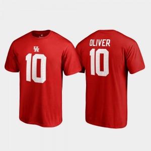 Legends University of Houston Ed Oliver College T-Shirt Name & Number Red #10 Men