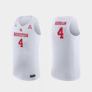 Replica Mens Justin Gorham College Jersey Basketball #4 White University of Houston