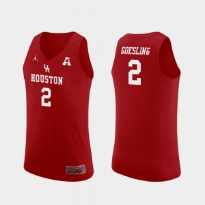 Mens #2 Houston Cougars Landon Goesling College Jersey Replica Basketball Red