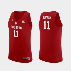 University of Houston Replica Red Basketball Men's Nate Hinton College Jersey #11