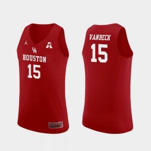 Replica #15 Houston Men's Neil VanBeck College Jersey Red Basketball
