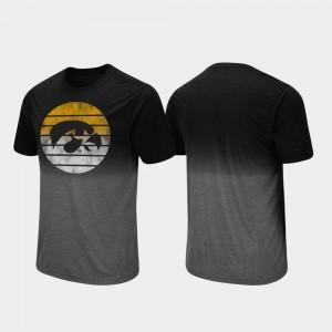 Fancy Walking Dip Dye Black Iowa Hawkeyes College T-Shirt Mens