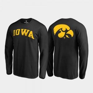 College T-Shirt Iowa Hawk For Men's Long Sleeve Primetime Black