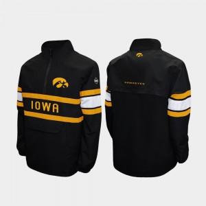 Alpha Windshell Pullover Quarter-Zip For Men's Black College Jacket Hawkeyes