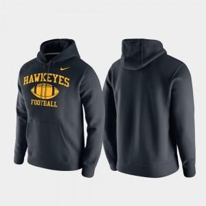 Iowa Hawkeyes Mens Retro Football Club Fleece Black College Hoodie