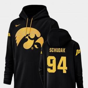 Black Caleb Schudak College Hoodie #94 Iowa Hawk Mens Football Performance Champ Drive