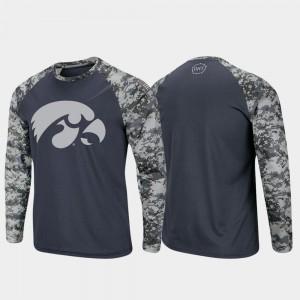 Iowa Charcoal Camo Raglan Long Sleeve Digi Camo For Men's OHT Military Appreciation College T-Shirt