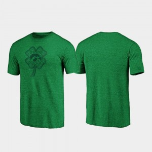 Green St. Patrick's Day College T-Shirt Iowa For Men Celtic Charm Tri-Blend