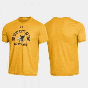 Heathered Gold Arched Logo College T-Shirt Throwback For Men Hawkeyes